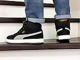 Мужские зимние кроссовки высокие на меху в стиле Puma Suede (замша, набивная шерсть, замша, черные с серым), фото 3