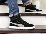 Мужские зимние кроссовки высокие на меху в стиле Puma Suede (замша, набивная шерсть, замша, черные с серым), фото 5
