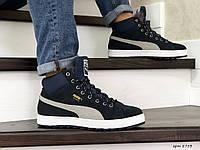 Чоловічі кросівки PUMA Suede високі (зима утеплені шерстю, замша, темно сині), фото 1
