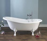 Матовая ванна на львиных лапах литой камень 173 см Lady Hamilton