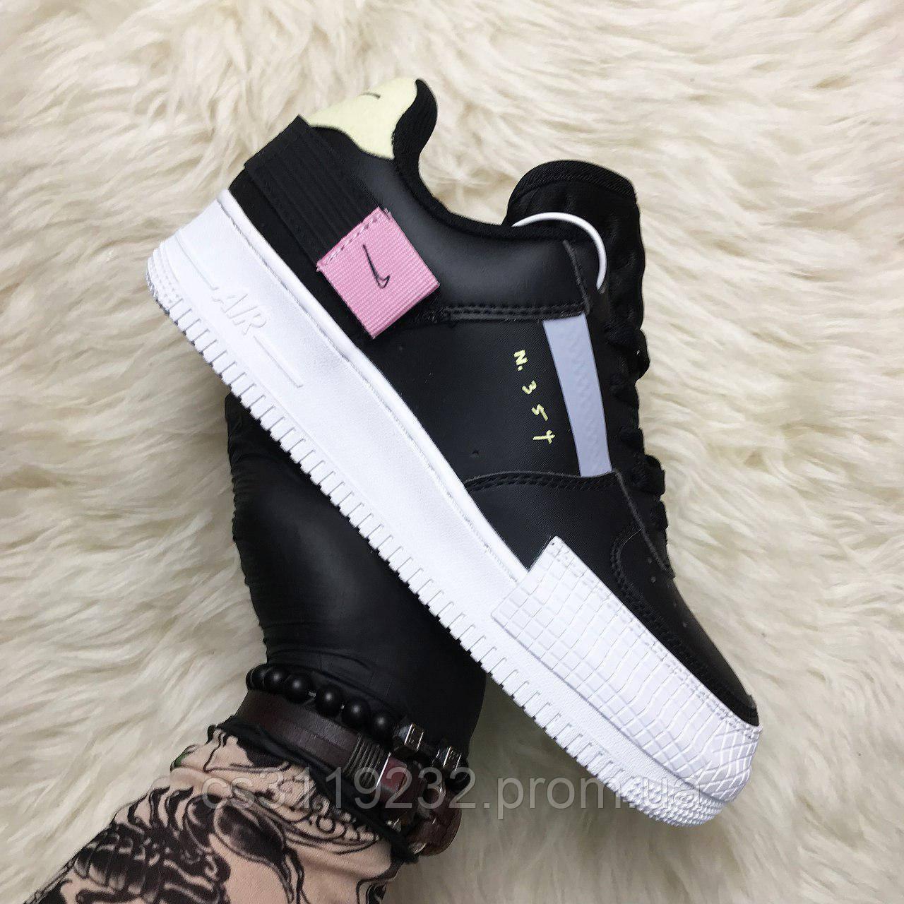 Женские кроссовки Nike Air Force 1 Type Black white(черные)