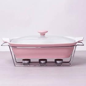 Мармит керамический прямоугольный 2.3 л со стеклянной крышкой розовый Kamille 6406
