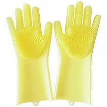 Силіконові рукавички для миття посуду жовті