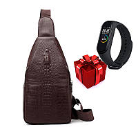 Стильная мужская сумка слинг Alligator Brown  + В ПОДАРОК ХИТ сезона Фитнес браслет Band M4!!!