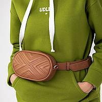 Овальная сумка бананка коричневого цвета UDLER