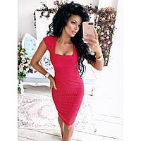 Платье - футляр  женское красное Фасон