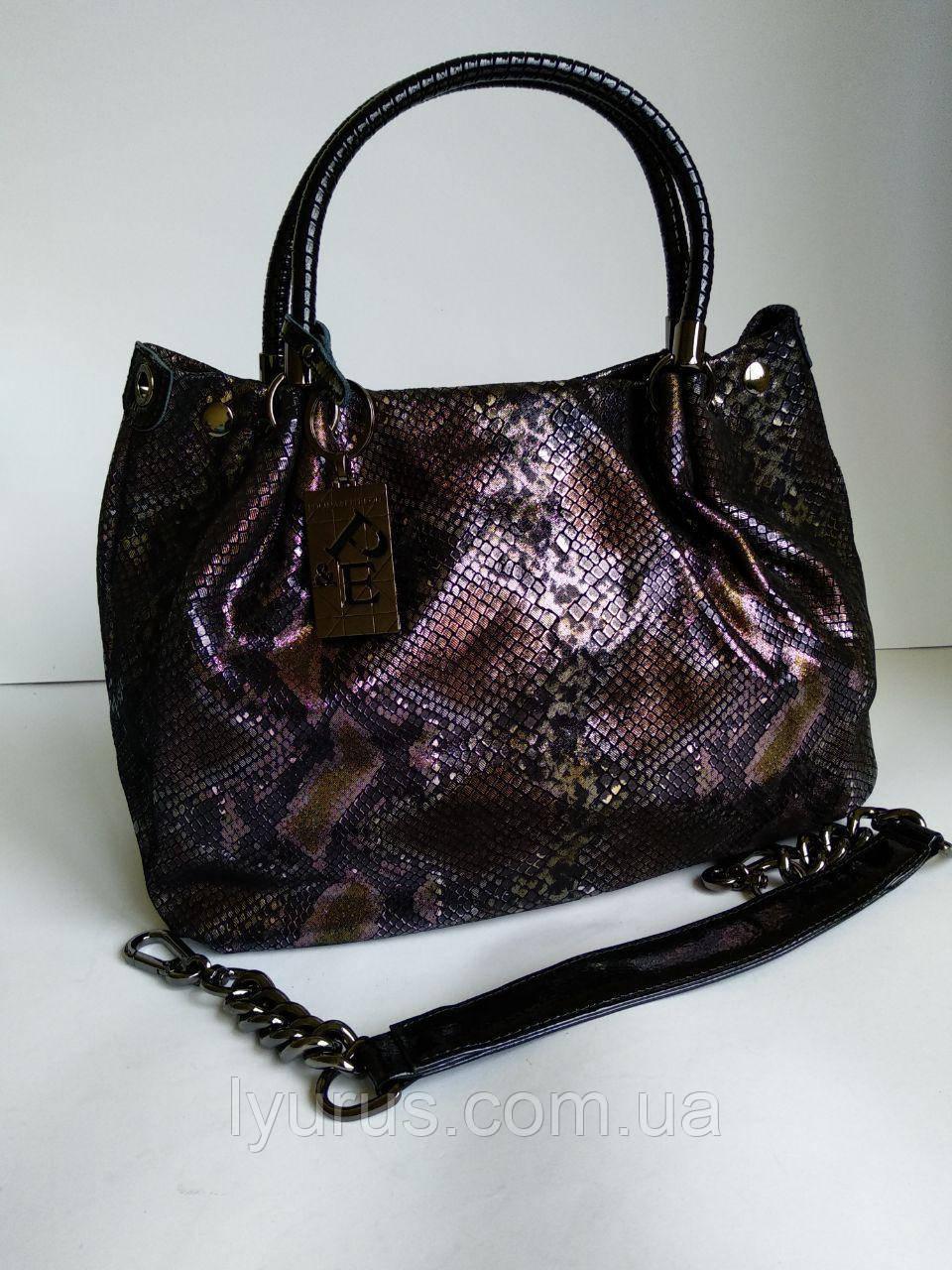 Женская кожаная сумка  Polina & Eiterou змеиный принт лазерной обработки