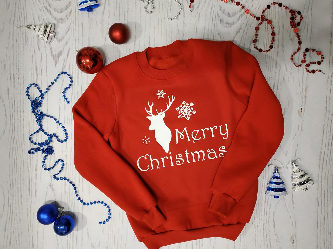 Свитшот новогодний с оленями  цвета  и размеры женский детский мужской mery christmas