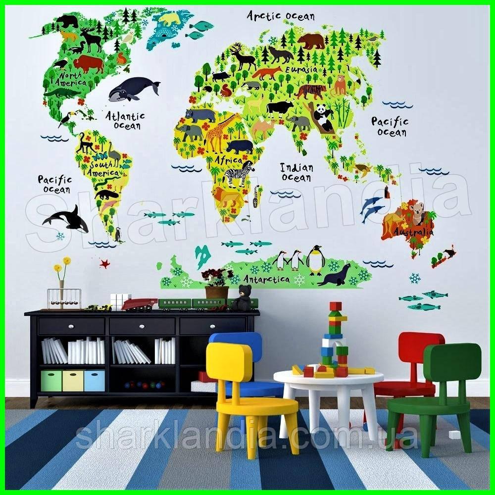 Объемная наклейка настенная виниловая интерьерная детская на стену Карта мира Животные Мапа світу тварини