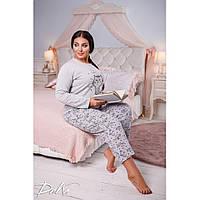 Женская тёплая  пижама, коттон на флисе c с начесом, размеры 48-56, фото 1