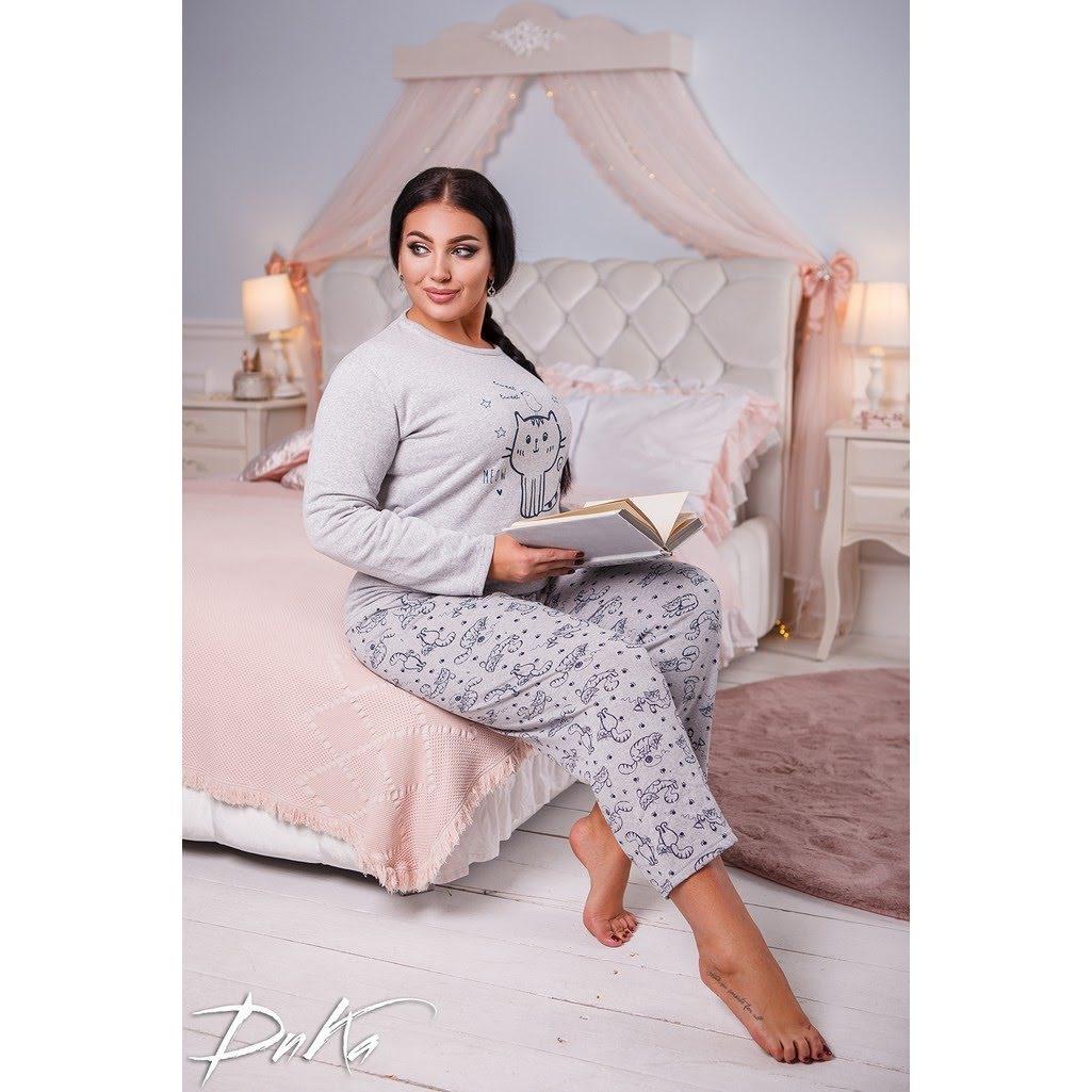 Женская тёплая  пижама, коттон на флисе c с начесом, размеры 48-56