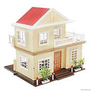"""Двухэтажный кукольный домик Вилла """"Счастливая семья"""" 1514, 2 этажа, подсветка без мебели и кукол"""