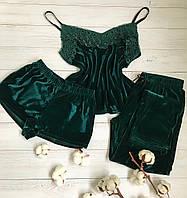 Женская пижама тройка шорты майка штаны L