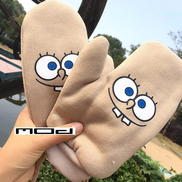 Перчатки зимние со Спанч Бобом