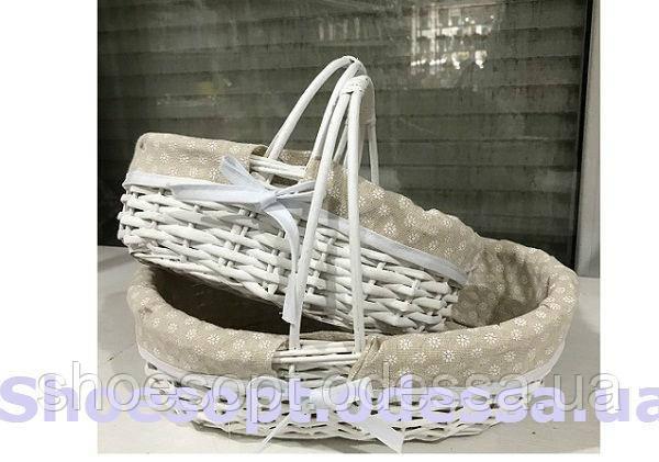 Корзина пасхальная плетеная белая с тканевой вставкой, набор 2шт 25х35х23 см