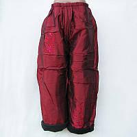 Штаны детские утепленные флисом для девочки красные 22-30, фото 1