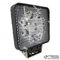 Дополнительная светодиодная фара рассеянного (ближнего) света 27W/60 квадратная 10-30V, фото 1