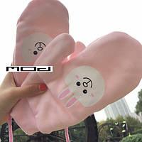 Утепленные перчатки с мордочкой кролика, фото 1