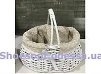 Корзина пасхальная плетеная с тканевой вставкой 25хх25х26 см