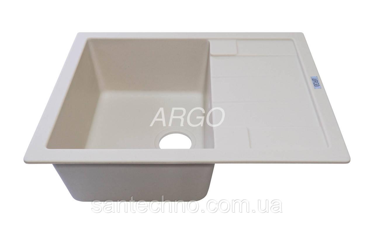 Гранітна прямокутна кухонна мийка з крилом Argo Stella Ivori 650*500*200