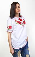 Женская вышиванка крестиком на короткий рукав