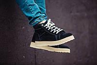 Ботинки зимние мужские South navy black, классические зимние ботинки на зиму