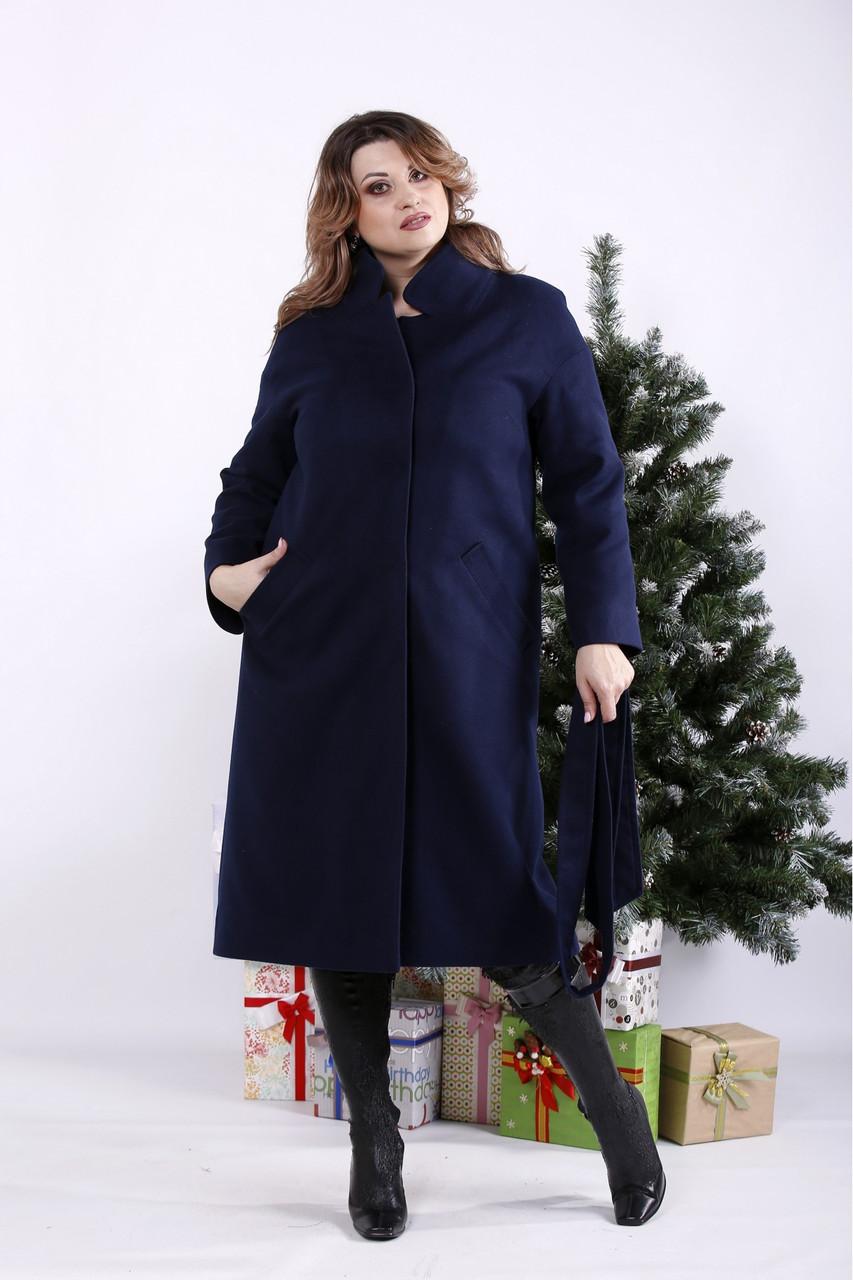 Синее пальто женское прямое с поясом большого размера (опционально с утеплителем до -10) 42-74. T01268-6