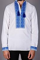 Мужская вышитая сорочка с рукавом и синим узором