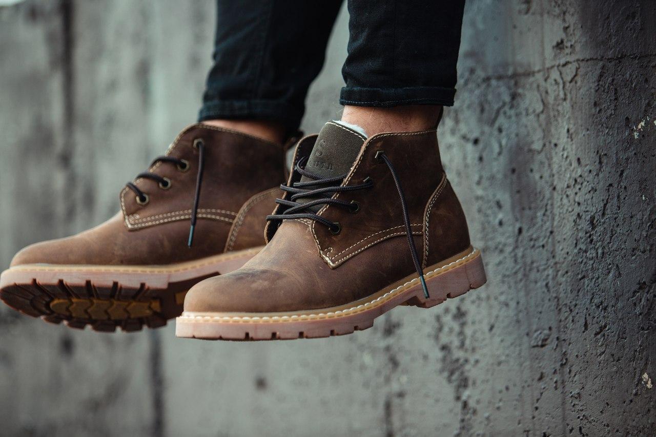 Ботинки зимние мужские South jaston brown, классические кожаные ботинки на меху