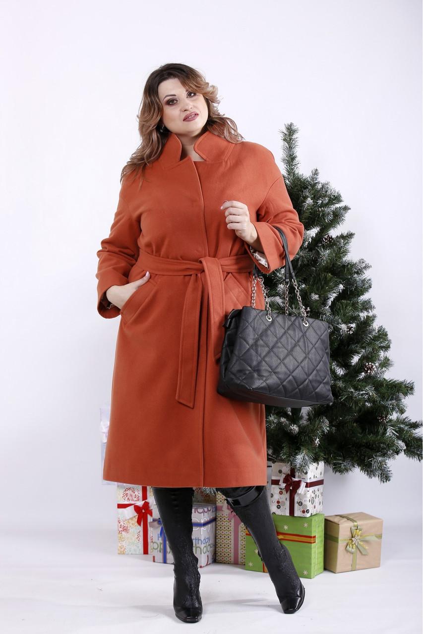 Терракотовое пальто женское молодежное большого размера (опция с утеплителем до -10С) 42-74. T01268-5