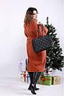 Терракотовое пальто женское молодежное большого размера (опция с утеплителем до -10С) 42-74. T01268-5, фото 2