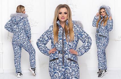 """Женский лыжный комбинезон холлофайбер в больших размерах 5263 """"Принт Орнамент Мех"""""""