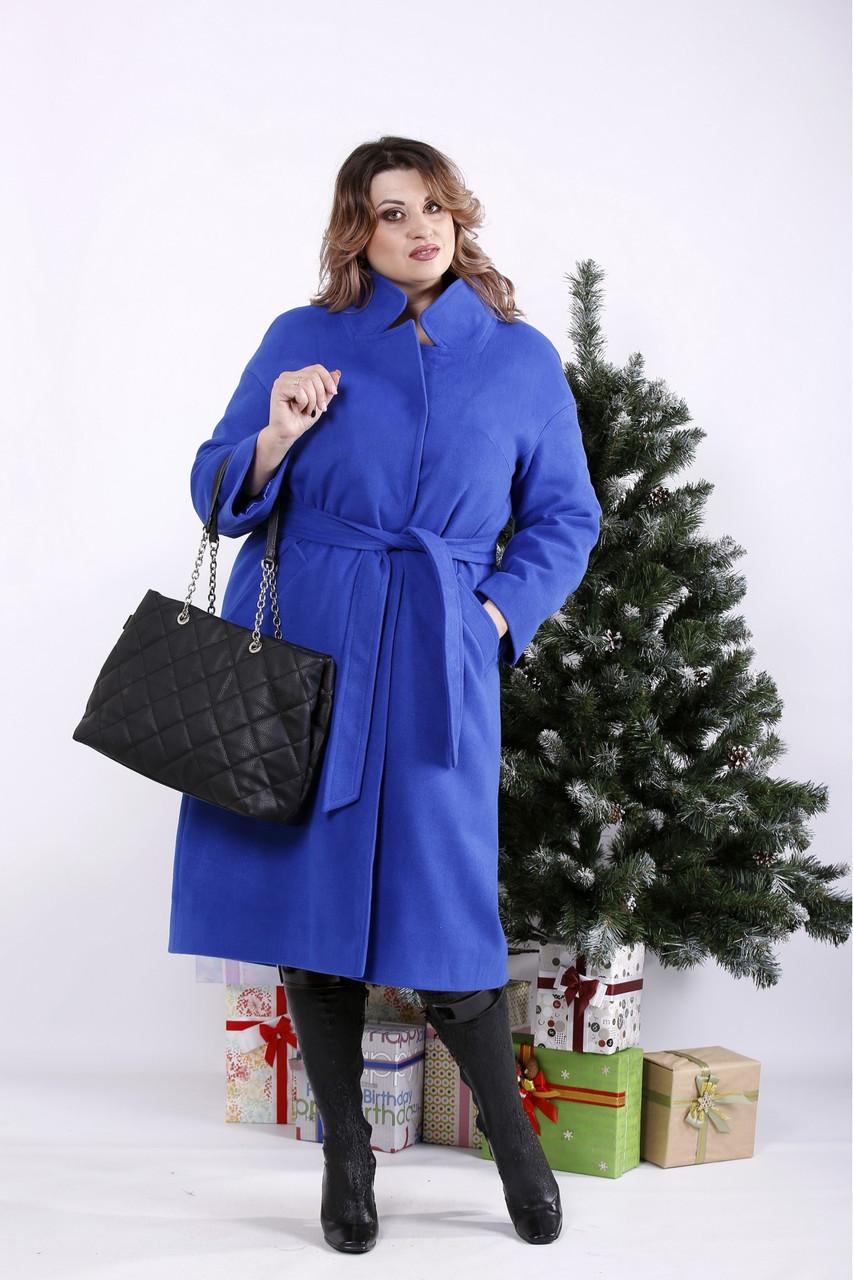 Кашемировое пальто женское с поясом электрик батал (опционально с утеплителем до -10С)  42-74. T01268-4