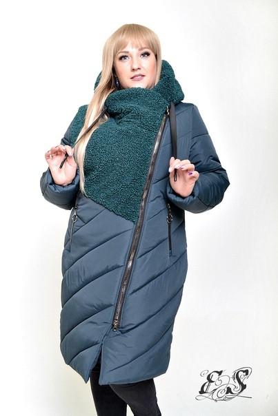 Зимняя женская куртка большого размера со вставкой букле 50-58 р