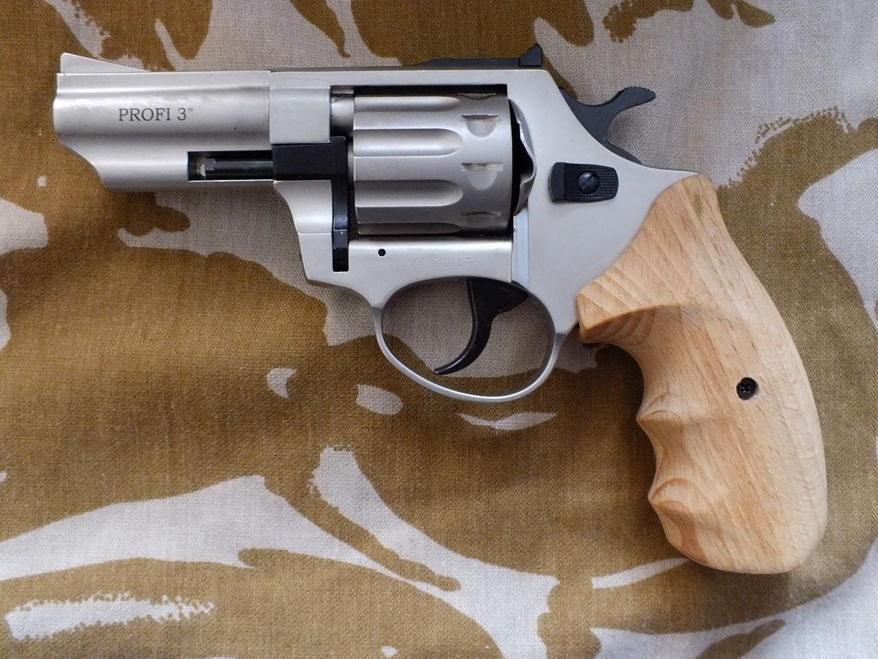 Револьвер под патрон Флобера Profi 3'' Satin с деревянной рукоятью
