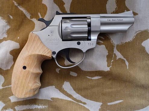 Револьвер под патрон Флобера Profi 3'' Satin с деревянной рукоятью, фото 2