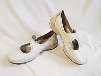 Туфли женские кожаные белые мокасины Clarks (размер 37 (UK4D))
