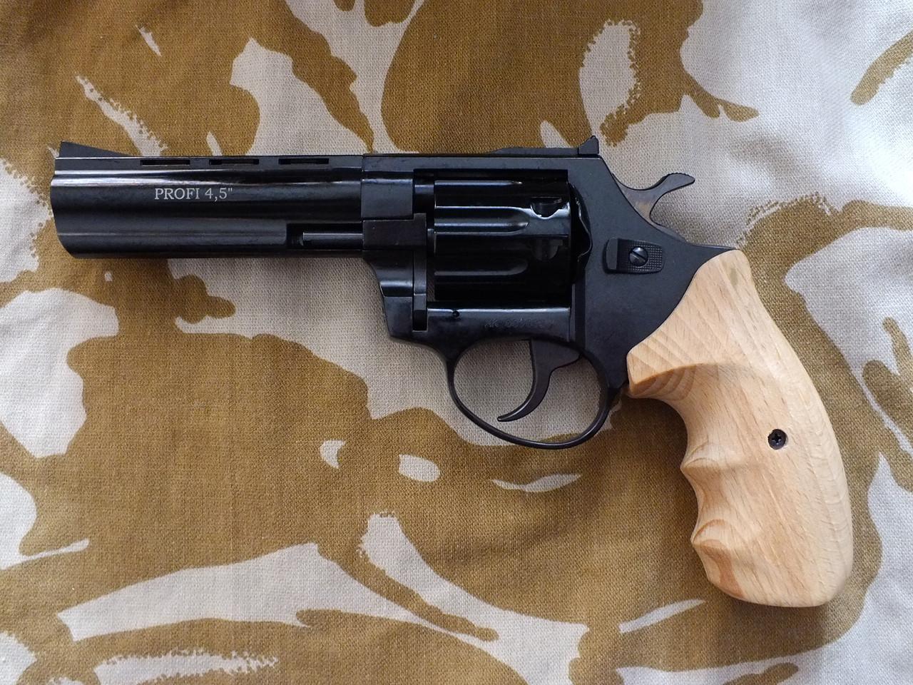 """Револьвер под патрон Флобера Profi 4.5"""" Black с деревянной рукоятью"""