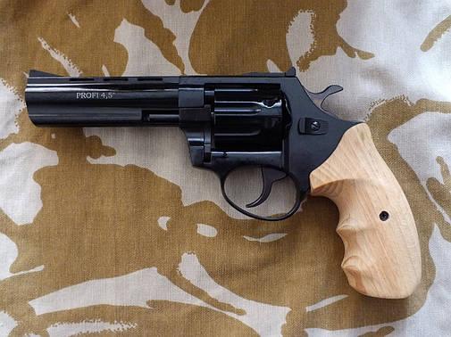"""Револьвер под патрон Флобера Profi 4.5"""" Black с деревянной рукоятью, фото 2"""