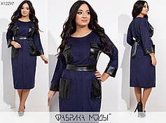 Элегантное женское платье из замша с элементами эко кожи  батал 48-54 размер, фото 3