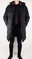 Курточка мужская зимняя длинная черная прямая Y.L.Z