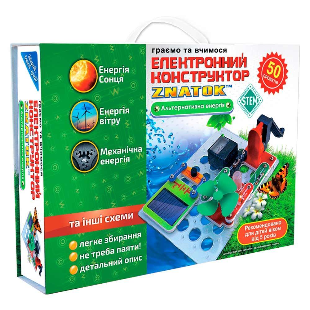 Электронный конструктор ЗНАТОК Альтернативная энергия (50 проектов), конструктор для развития детей