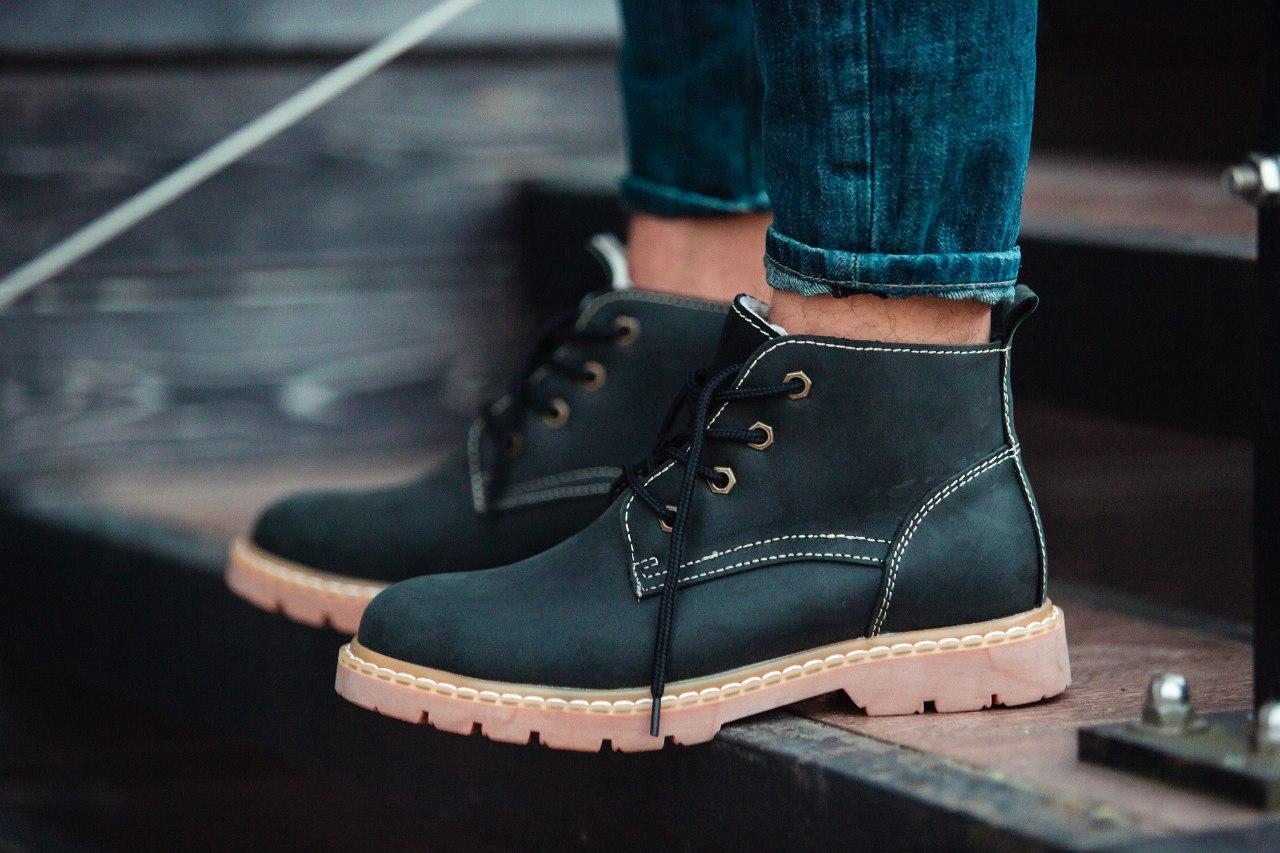 Ботинки зимние мужские South jaston black, классические кожаные ботинки на меху