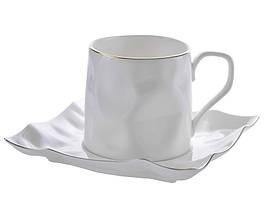 Чашка с блюдцем Белая фигурная 240 мл 264-143