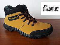 Мужские подростковые зимние кроссовки желтые удобные на меху (код 9945)