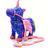Интерактивная мягкая игрушка «Пони» единорог на поводке (фиолетовая), ходит, поет, ржет 30*10*35 см (M1244)