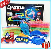 DAZZLE TRACKS 187 деталей с пультом управления 425см, Дазл трек конструктор трасса с гоночной машинкой +подаро