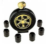Подарочный набор для спиртного для Водителя колесо с рюмками. БОЛЬШОЙ, фото 1