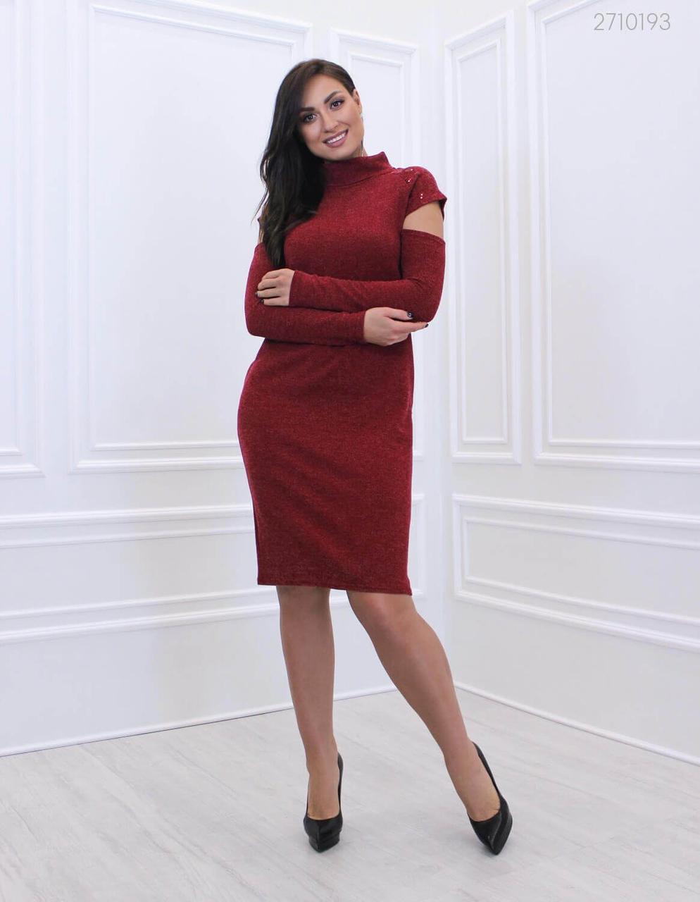 Элегантное женское платье из вязанного трикотаж батал 48-58 размер