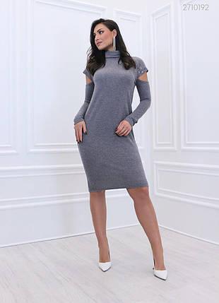 Тёплое  женское платье из качественного  вязанного трикотаж батал 48-58 размер, фото 2